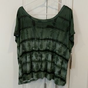 Vintage green and black tie dye tee